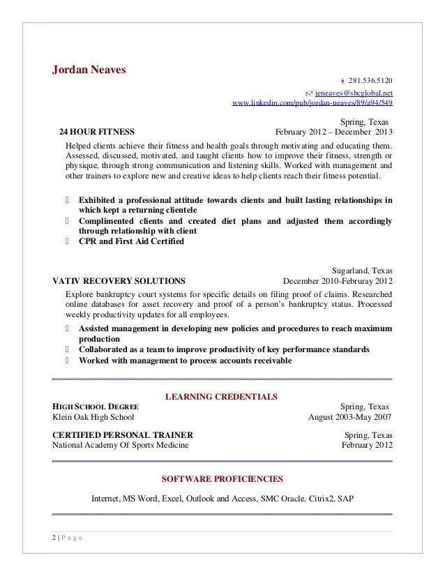 24 hour fitness resume